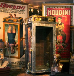 Original Houdini posters and his water torture chamber illusion.