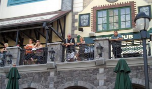 Spectators enjoy the contest from the balcony at Nine Fine Irishmen.