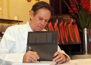 Thomas Keller at book signing event at Bouchon on June 16th.