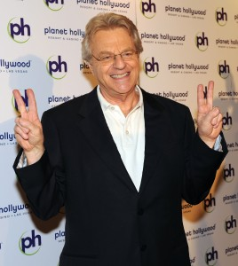 "Jerry Springer arrives at the opening night after party for ""America's Got Talent Live"" at Planet Hollywood Casino Resort. Photo by Denise Truscello"