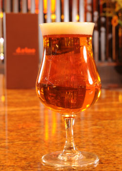 A glass of Italian artisanal beer at d.vino