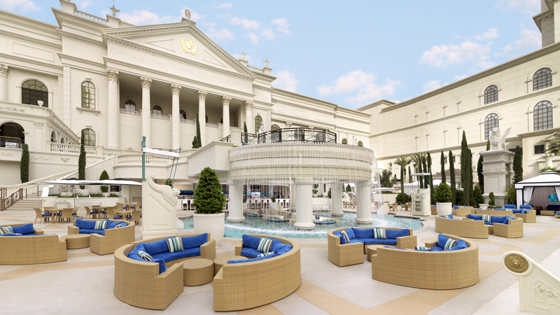Caesars has vip villas with a view and renovated pool for Caesars swimming pool