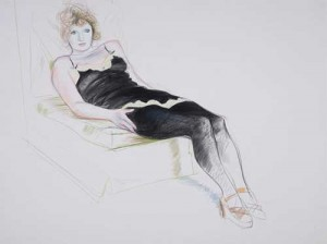 "David Hockney's ""Celia in a Black Slip Reclining"" (1973)"