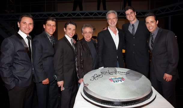 The Jersey Boys celebrate their 2nd Anniversary in Vegas. From left to right: Travis Cloer, Deven May, Rick Faugno, Frankie Valli, Bob Gaudio, Peter Saide and Jeff Leibow.