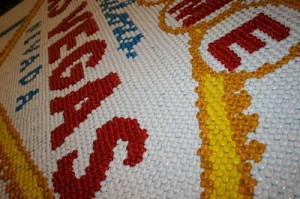 "Close-up of M&M's ""Welcome to Las Vegas"" candy sign"