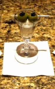 Martini with caviar-stuffed olives at Andre's