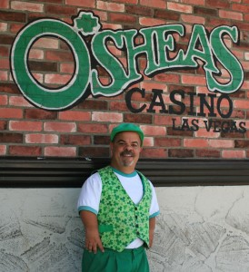 "Visitors get a ""top o' the morning"" welcome at O'Sheas Casino from Brian Thomas."