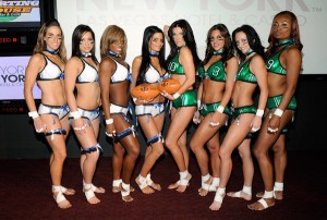 From left to right: Elizabeth Kempton, Cathy Sierra Stephanie Brewster, Sarah Frechette, model/actress Angelica Bridges, Jackie Savitt, Summer Soltis and Tiffany Patrice from the Lingerie Football League's newly-formed Las Vegas team unveil the 2011 Lingerie Bowl official game uniforms at The Sporting House Bar & Grill at the New York-New York Hotel & Casino December 8, 2010 in Las Vegas, Nevada. Lingerie Bowl VIII will be played at the Thomas & Mack Center in Las Vegas on February 6, 2011.  (Photo by Ethan Miller/Getty Images for Lingerie Bowl VIII)