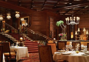 The opulent dining room at Alex