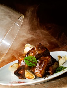 Chef Hubert Keller's maple glazed pork ribs at Fleur.
