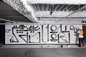 The Cosmopolitan of Las Vegas features works by noted artists in it's parking garage including this piece by RETNA.