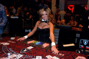The dealers at the Playboy Club, located inside the Palms, are dressed in Playboy's classic bunny outfit.