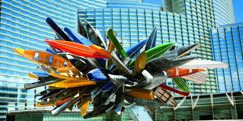 "Nancy Rubins' ""Big Edge"" provides an burst of color to CityCenter."