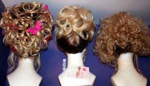 """Three of Frank Marino's flamboyant wigs from """"Divas Las Vegas"""" at the Imperial Palace."""