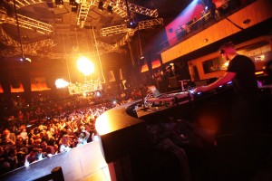 Electronic music DJ Diplo spins at Rain inside the Palms
