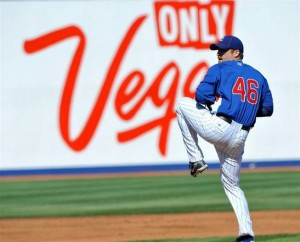 Chicago Cubs pitcher Ryan Dempster delivers a pitch during Las Vegas' Big League Weekend in March 2010 at Cashman Field. Photo courtesy Las Vegas Sun.