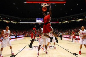UNLV forward Quintrell Thomas dunks in a February game against New Mexico. The Rebels are expected to make a run in the upcoming NCAA tournament. Photo by Sam Morris/Las Vegas Sun.