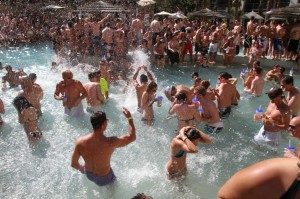 Revelers splash in the pool at Rehab, the weekly party at the Hard Rock Hotel.
