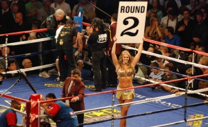 Danielle Davidson struts around the ring during a boxing match at MGM Grand. Photo by Robert Macabagdal.