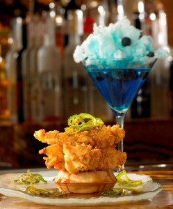 Chicken and waffles and cotton candy martini