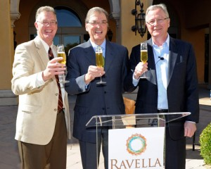 From left to right: Andy Jafen, Mayor of Henderson, Richard Maxfield, COO Dolce Hotels & Reosrts, Mario Mazzini, General Manager of Ravella.