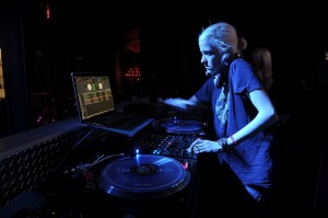 DJ Samantha Ronson spins during the grand opening party at Chateau Nightclub & Garden at Paris Las Vegas.