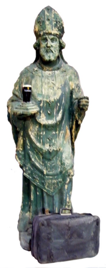 This enormous carved plaster statue of St. Patrick that dates back to 1850 is one of the artifacts on display at Rí Rá.