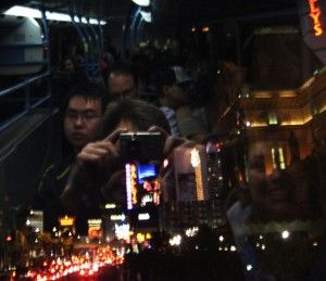 Our reflection in the window while taking a photo of the Strip