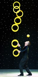 "A talented juggler performs in ""V - the Ultimate Variety Show"" at Planet Hollywood"