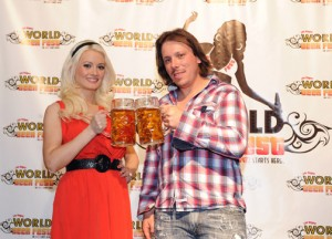 """Peepshow"" star Holly Madison, left, toasts with Peter Gagnon, Las Vegas World Beer Festival organizer, at a media-sneek peek on May 25 at Bally's."