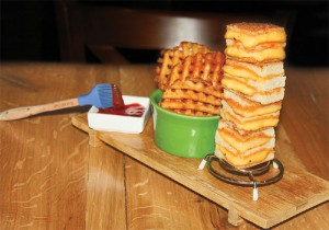 The grilled cheese bites at Max Brenner come with a brush to paint your fries.