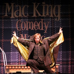During his show, comedy magician Mac King dons a gold lamé cape à la other Las Vegas legends like Liberace and Elvis.