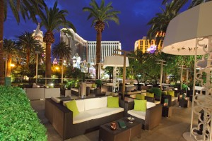 Rhumbar is like a tropical oasis in the middle of the Las Vegas Strip with views of volcano at Mirage in the background. Photo courtesy Rhumbar.