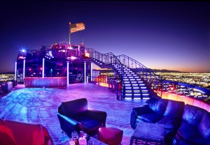 The 40,000-pound stairway at VooDoo Lounge is one of the unique places to take in the scenery in Las Vegas. Photo courtesy VooDoo Lounge.