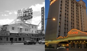 These images show the El Cortez in 1953 (left) and more recently in 2008.