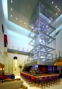 The three-story wine tower at Aureole in Mandalay Bay.