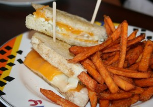 This three-cheese grilled cheese is a bargain, served with sweet potato fries and only $4.80.