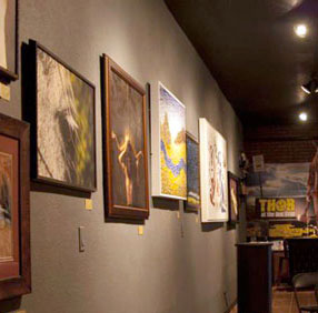 In addition to movies, patrons of theatre7 can check out mixed media artwork as well as attend monthly First Friday art shows.