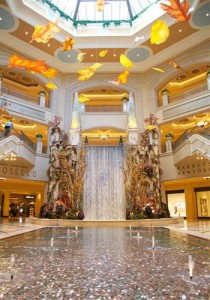 The atrium waterfall at Palazzo Las Vegas.