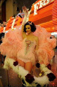 "Katy Perry films her music video for ""Waking Up in Vegas"" on Fremont Street."