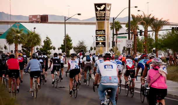 Cyclists cruised past the Las Vegas Design Center at the acclaimed at World Market Center in downtown Las Vegas in the 2010 Viva Bike Vegas ride.