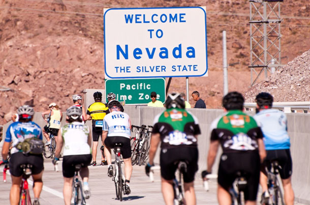 Bicyclists ride across the Mike O'Callahan/Pat Tillman Memorial Bridge before it opened to the public in 2010's Viva Bike Vegas event.