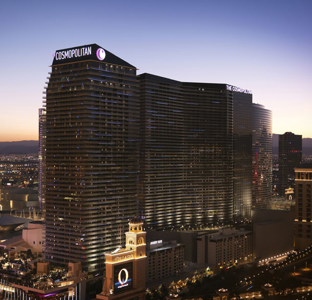 An aerial view of The Cosmopolitan at sunset