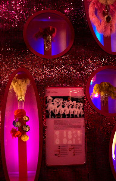 A giant wall of showgirl costumes adds some glamour to the Nevada State Museum.