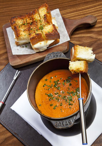 Garlic bread grilled cheese and tomato fondue at Nobhill Tavern.