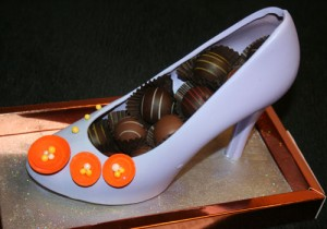 The chocolate shoe at Jean Philippe Pâtisserie ($48) comes with chocolate truffles.
