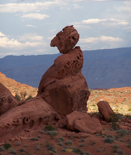 Precariously positioned rocks create beautiful scenery in The Valley of Fire.