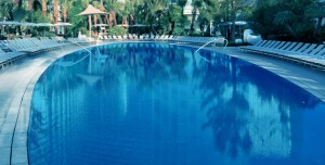 A heated pool can be a great place to relax during a mild winter day.