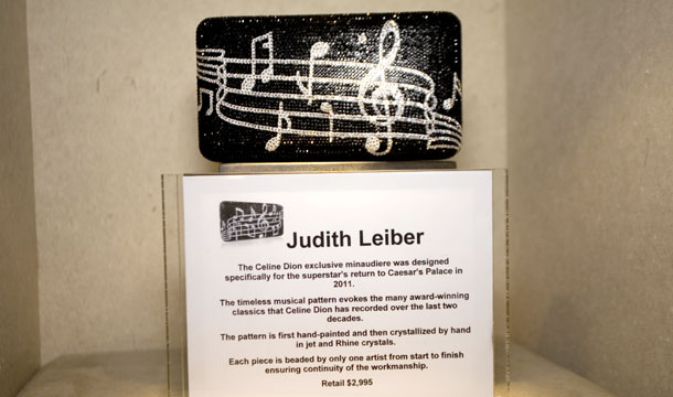 This Judith Leiber clutch is one of several items designed especially for devoted fans of Celine Dion.