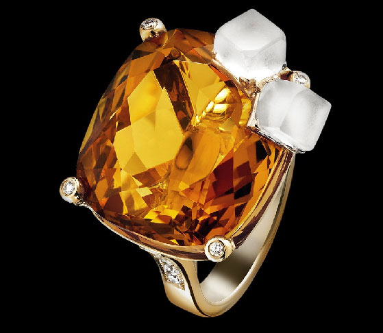 The Whiskey on the Rocks cocktail ring is part of Piaget's dazzling and decadent Limelight collection.